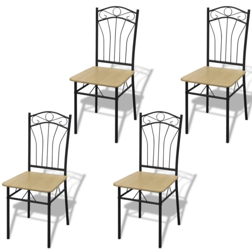 Set of 4 Light Brown Steel Frame Dining Chairs