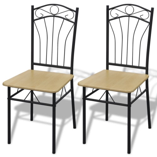 Set of 2 Light Brown Steel Frame Dining Chairs