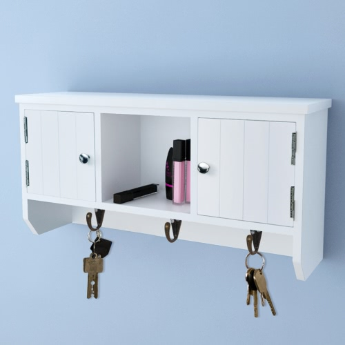 Wall Cabinet for Keys and Jewelry with Doors and Hooks