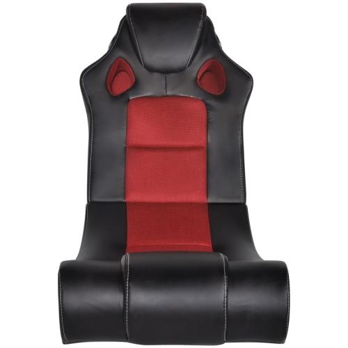Mecedora en imitación de cuero con la música de Bluetooth Negro Y Rojo