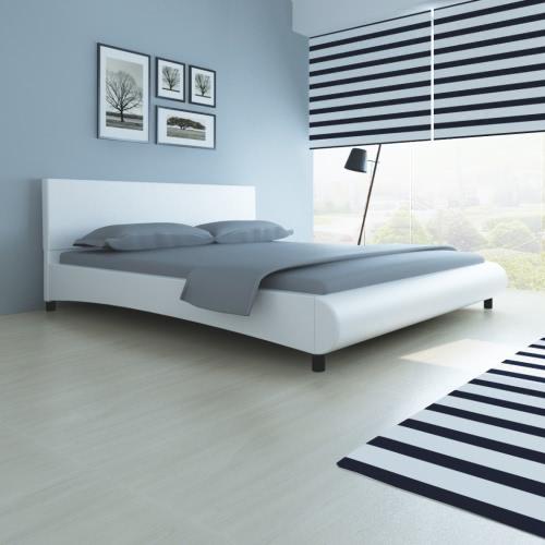 cama de cuero sintético en el diseño del arco de 180 x 200 cm blanco
