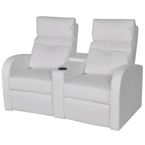 Sofa Two Seater Reclining Chair in White Artificial Leather
