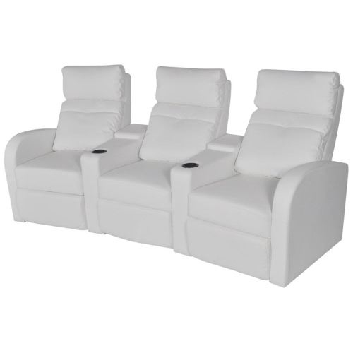 Three Seater Sofa Recliner White Artificial Leather