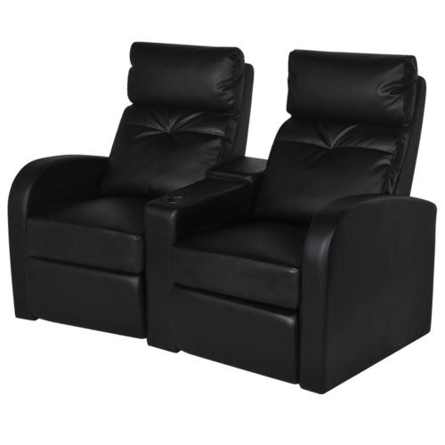 sillón con dos asientos reclinables en cuero artificial negro