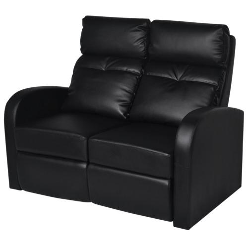 Divano Home Cinema Due sedili reclinabili in pelle nera artificiale