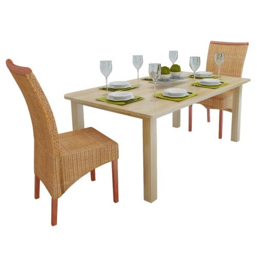 2 sillas de mesa en tejido de la rota con decoraciones de madera