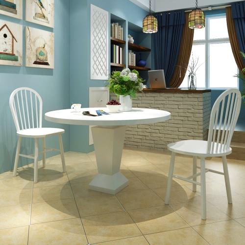2x Holz Esszimmerstuhl Küchenstuhl rund Weiß