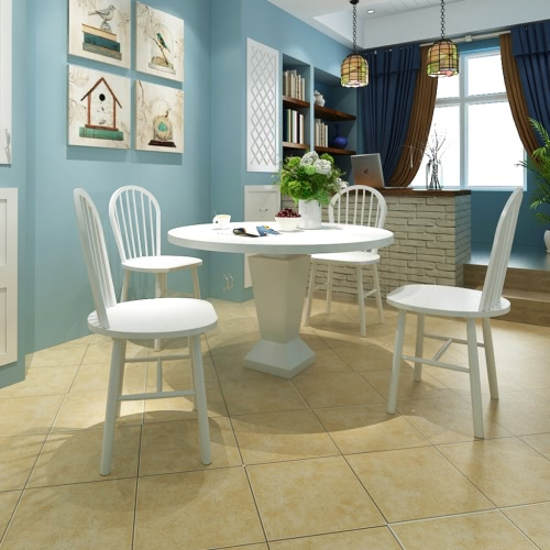 4 Wooden Dining Chairs Round White