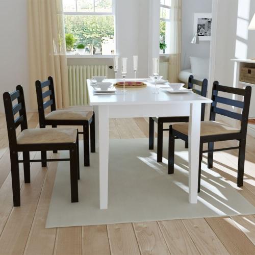4 PC a partir de tablero cuadrado de madera silla marrón