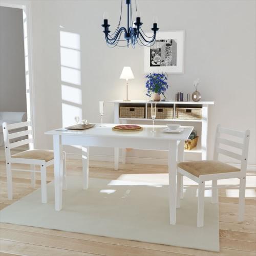 2x da pranzo in legno Sedia cucina quadrangolare Bianco