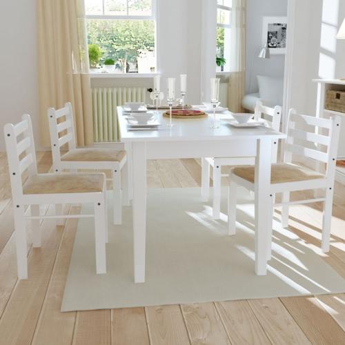 Conjunto de 4 piezas de la silla tablero cuadrado en madera blanca
