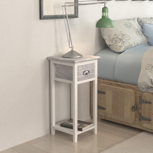 mesita de noche / teléfono con 1 cajón gris / blanco