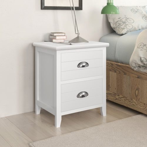 2 pcs Bedside / Phone Holder With 2 Drawers White