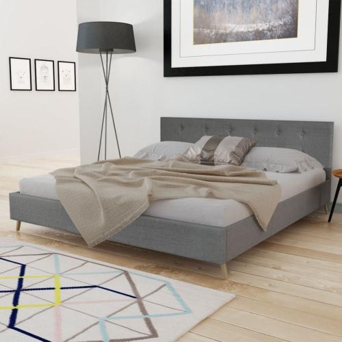 madera cama de 200 x 160 cm con tapicería de tela de color gris claro