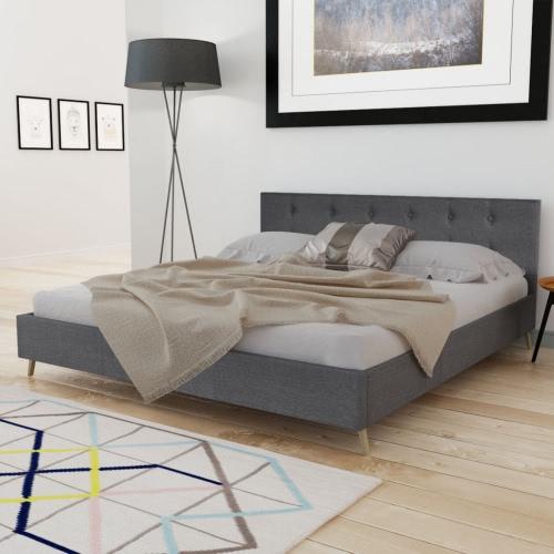 madera cama de 200 x 160 cm con tela de tapicería gris oscuro