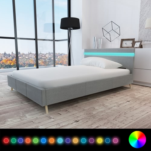 Cama con cabecera en LED 200 x 140 cm cubierta de tela de color gris claro