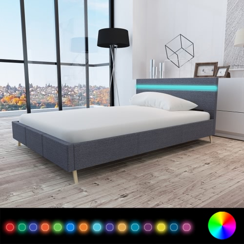 Bed with Headboard in LED 200 x 140 cm Covered in Dark Gray Fabric