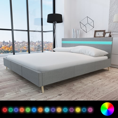 Bed with Headboard in LED 200 x 160 cm Covered in Light Gray Fabric