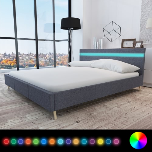 Bed with Headboard in LED 200 x 180 cm Covered in Dark Gray Fabric