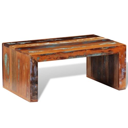 mesa de centro de mesa de café hecha de madera maciza antigua reciclada