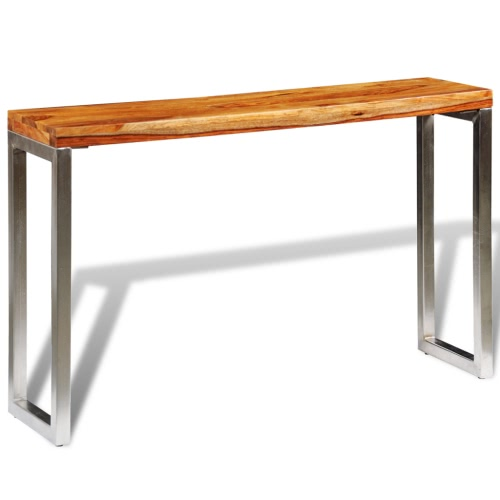 Wooden Sideboard Table in Solid Sheesham with Steel Legs