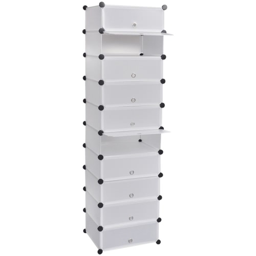 Chaussure en rack étagère à chaussures avec 10 compartiments 47 x 37 x 172 cm blanc