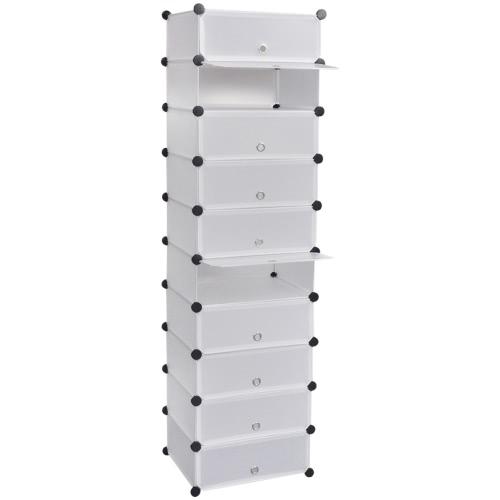 Zapato del zapato estante del estante con 10 compartimentos 47 x 37 x 172 cm blanco