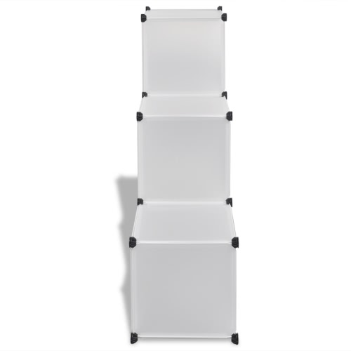 White Storage Cube Organiser with 6 Compartments 110 x 37 x 110 cm