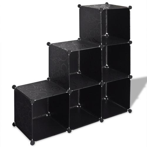 Etagères escalier rayonnages Rayonnage emboîtable avec 6 compartiments 110x37x110cm noir