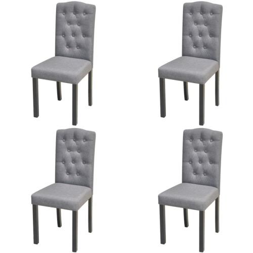 4 chaises avec salle tapissée tissu gris foncé