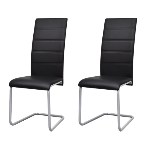 2 Chairs / Dining Cantilever with Black High Back