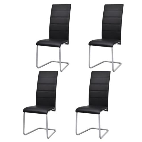 4 sillas de comedor en voladizo negro con respaldo alto