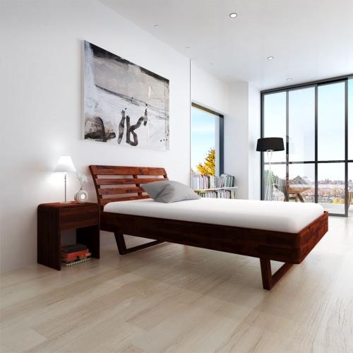 cama de madera de acacia marrón 200x140 cm