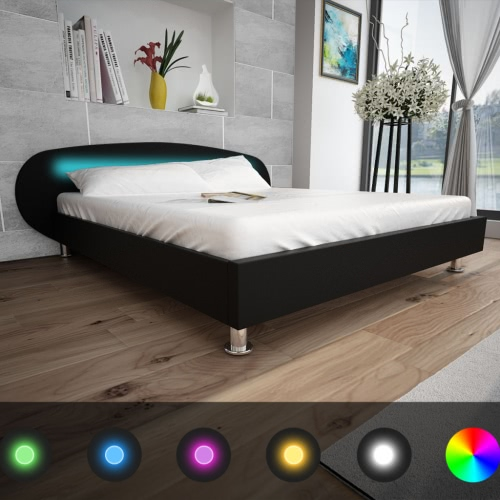 Black Bed Artificial Leather with LED strip 180 x 200 cm