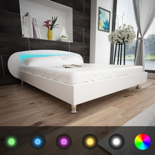 White Bed Artificial Leather with LED Strip 180 x 200 cm