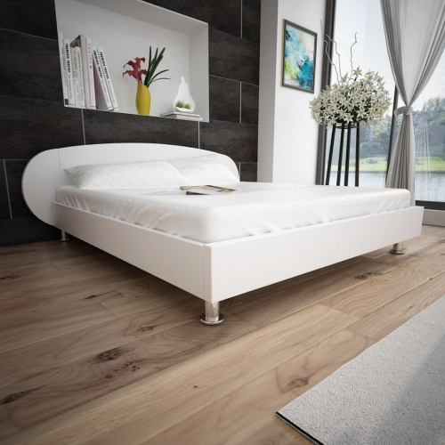 White Bed in Artificial Leather 140 x 200 cm
