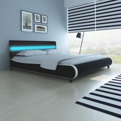 Cama con cabecero luminoso LED de 180 cm de cuero artificial