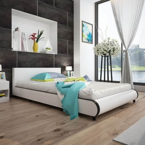 Bed in White Artificial Leather with 2 Drawers 140 x 200 cm