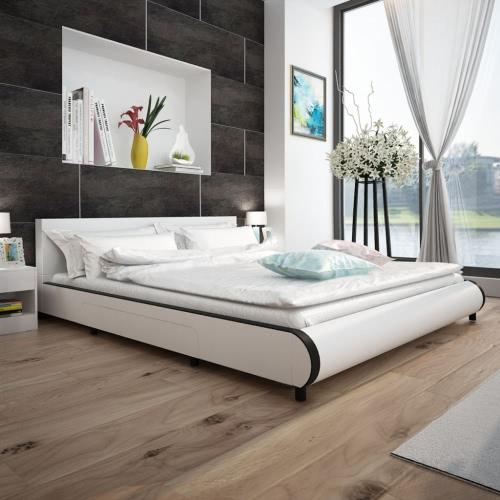 Cama en cuero artificial blanco con 2 cajones de 180 x 200 cm