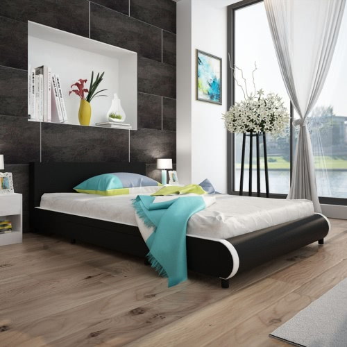 Bed in Black Artificial Skin with 2 Drawers 140 x 200 cm
