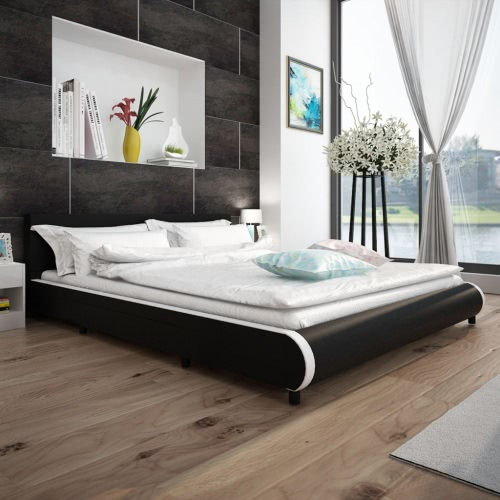 Bed in Black Artificial Skin with 2 Drawers 180 x 200 cm