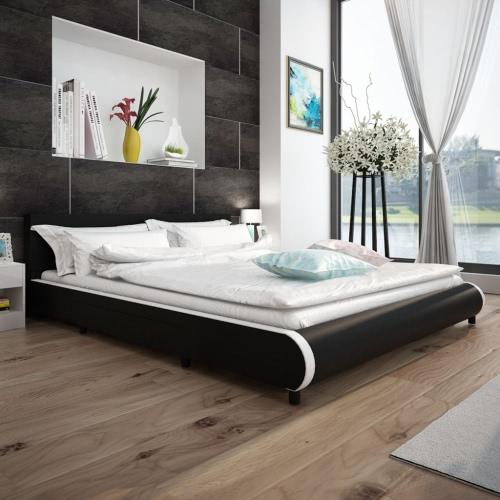 Cama en piel artificial negro con 2 cajones de 180 x 200 cm