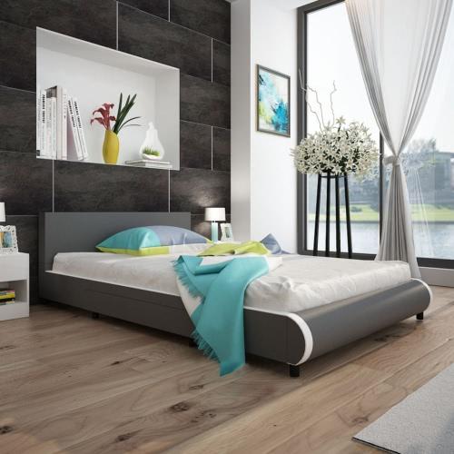 Cama en cuero artificial gris con 2 cajones de 140 x 200 cm