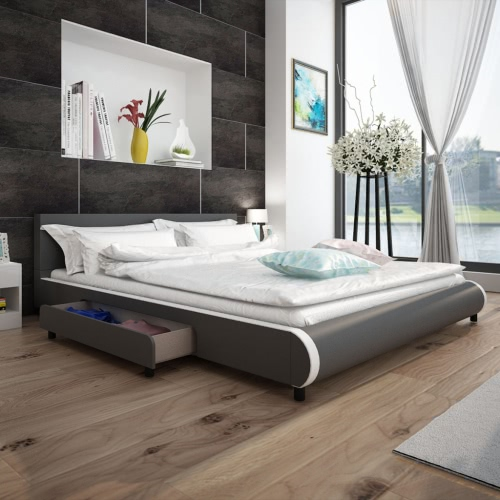 Cama en cuero artificial gris con 2 cajones de 180 x 200 cm