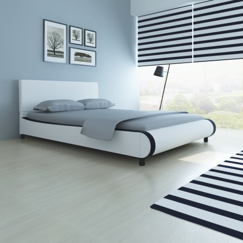 Double Bed Upholstered in Artificial Leather 140 cm White