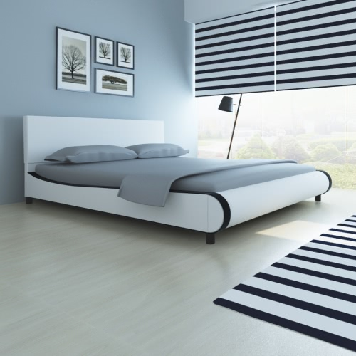Double Bed Upholstered in Artificial Leather 180 cm White