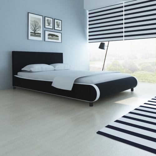 cama doble tapizada en cuero artificial de 140 cm negro
