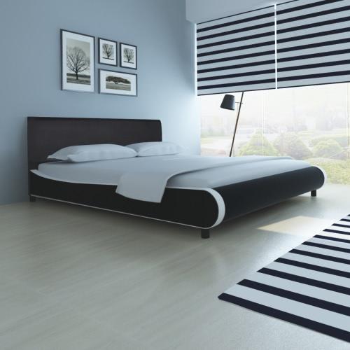 cama doble tapizada en cuero artificial de 180 cm negro