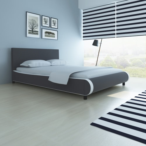 Double Bed upholstered in Artificial Leather 140 cm Gray
