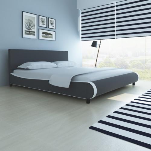 cama doble tapizada en cuero artificial de 180 cm gris